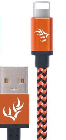 Whitetail Heaven 10ft. Signature Orange & Black Braided iPhone Charging Cable