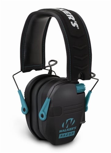 WALKER'S® RAZOR SLIM ELECTRONIC MUFF-BLACK w/ TEAL ACCENT