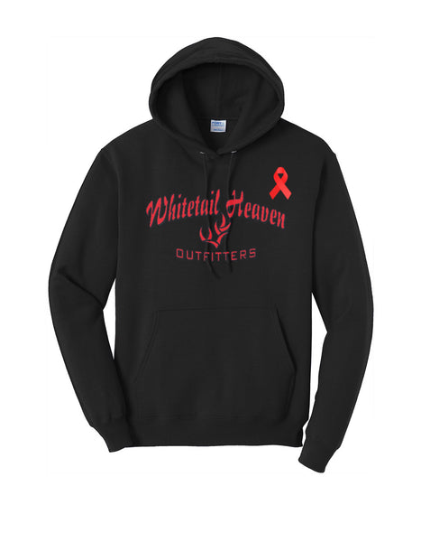 LIMITED EDITION WHITETAIL HEAVEN AIDS AWARENESS PULLOVER HOODED SWEATSHIRT