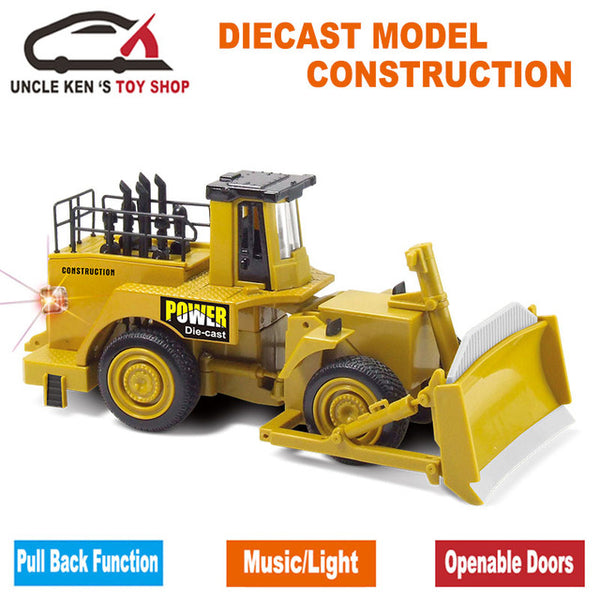 Diecast Asphalt Compactor Scale Model, Mini Road Roller, Smooth Drum Roller, Metal Toy Cars With Pull Back Function/Music/Light