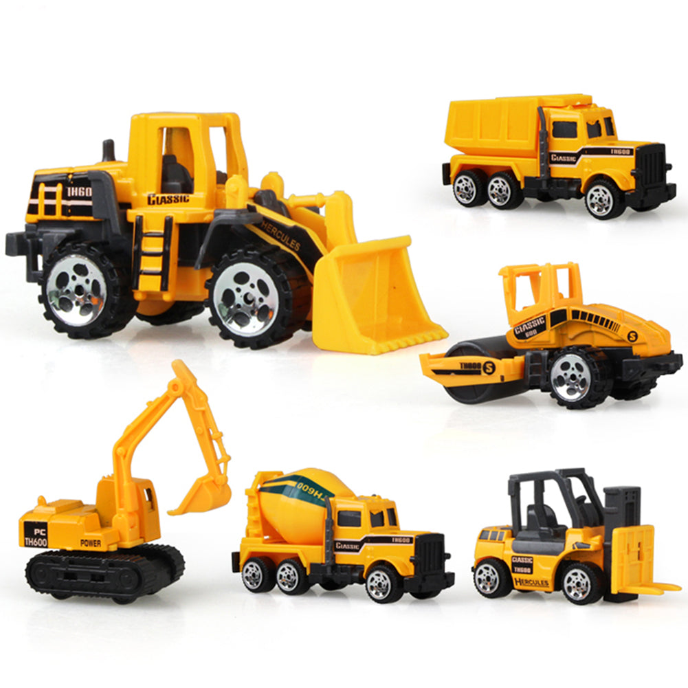6Pcs Early Engineering Vehicles Kids Mini Dumper Bulldozer Truck Asphalt Car Toy