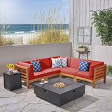 Outdoor V-Shaped Sectional Sofa Set with Fire Pit - NH970703