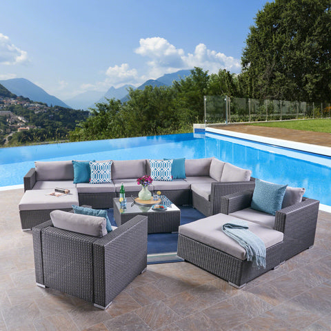 Outdoor 8 Seater Wicker Sectional Sofa Set with Cushions - NH557403
