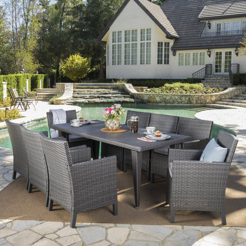 Outdoor 9 Piece Wicker Dining Set with Water Resistant Cushions - NH443203