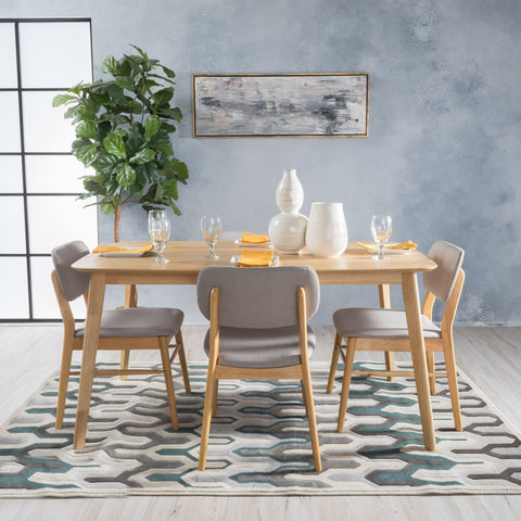 Mid-Century Design 5 PC Wood Finished Dining Set - NH810003