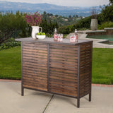 Dark Brown Acacia Wood & Rustic Metal Outdoor Bar Table - NH868692