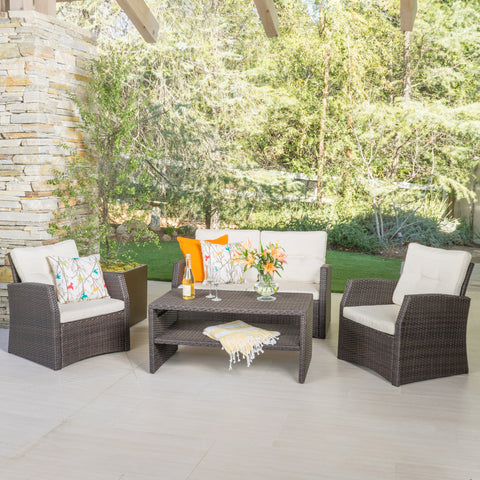 Outdoor 4 Piece Dark Brown Wicker Chat Set with Beige Water Resistant Cushions - NH406992