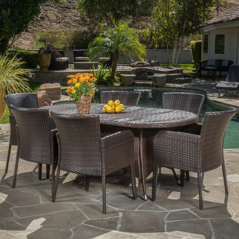 Multi-brown PE Wicker 7 Piece Outdoor Dining Set - NH442692