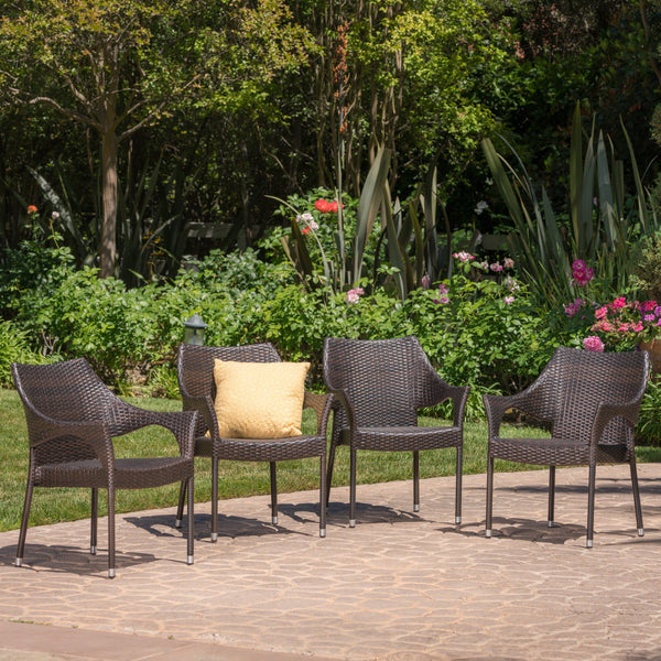 Outdoor Mix Mocha Wicker Stacking Dining Chairs (Set of 4) - NH245003
