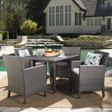 Outdoor 5 Piece Wicker Dining Set with Water Resistant Cushions - NH043203