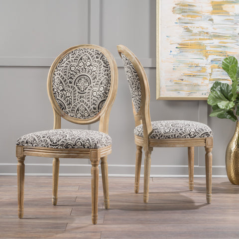 Black and White Patterned Fabric Dining Chair (Set of 2) - NH752003