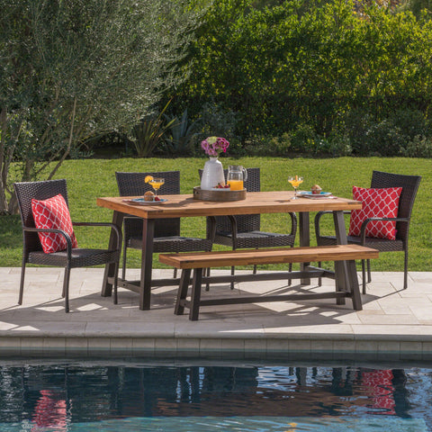 Outdoor 6 Piece Iron and Acacia Wood Dining Set with Wicker Stacking Chairs - NH735103