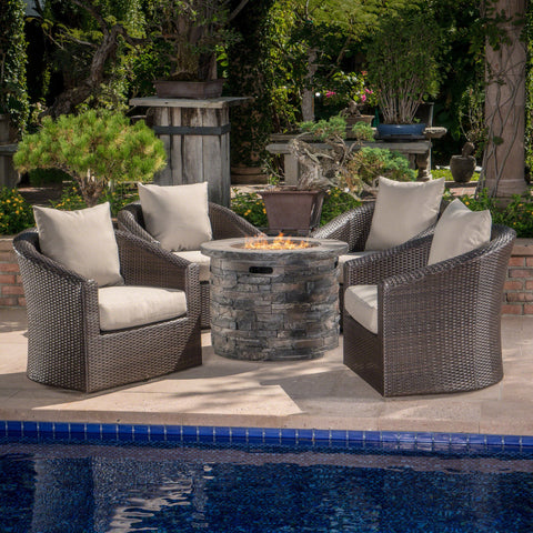 Outdoor 5 Piece Fire Pit Wicker Swivel Club Chair Chat Set - NH635203