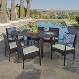 Outdoor 7 Piece Multi-brown Wicker Dining Set with Crème Cushions - NH736203