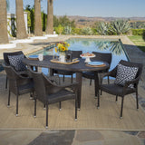 Outdoor 7 Piece Multi-brown Wicker Oval Dining Set with Stacking Chairs - NH056203