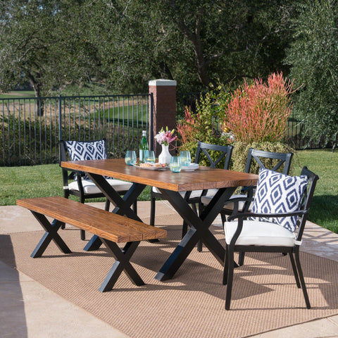 Outdoor 6 Piece Aluminum Dining Set with Concrete Table and Bench - NH577303