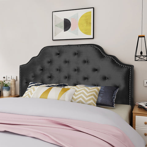Contemporary Tufted New Velvet Queen/Full Headboard w/ Nailhead Accents - NH885303