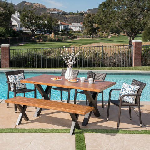 Outdoor 6 Piece Stacking Multi-brown Wicker and Concrete Dining Set - NH777303