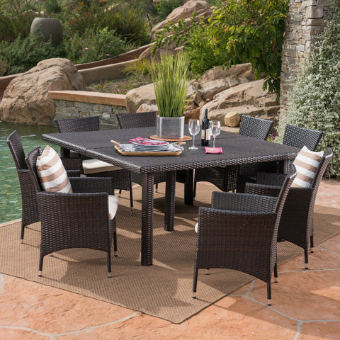 Outdoor 9 Piece Multi-brown Wicker Square Dining Set - NH329303