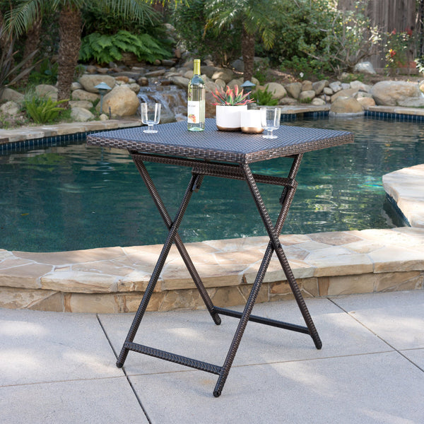 Outdoor Folding Multi-Brown Wicker Square Bar Table - NH503003