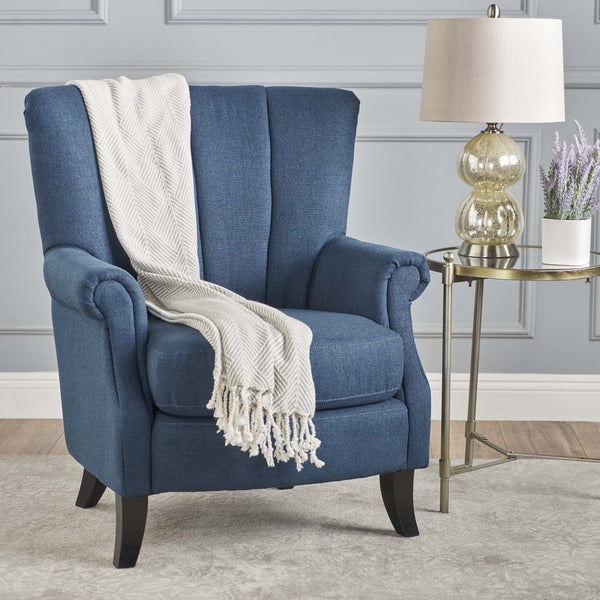 Contemporary Channel Stitch Upholstered Fabric Club Chair - NH714103
