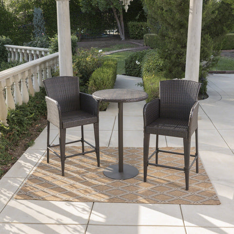 Outdoor 3 Piece Round Multi-brown Wicker Bar Set - NH544203