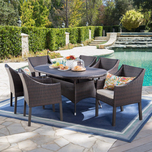 Outdoor 7 Piece Wicker Oval Dining Set with Water Resistant Cushions - NH923203