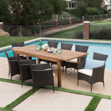 Outdoor 9 Piece Wicker Dining Set with Expandable Dining Table - NH775303