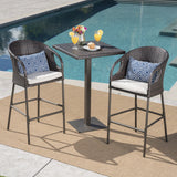 Outdoor 3 Piece Wicker Bar Set with Water Resistant Cushions - NH418203