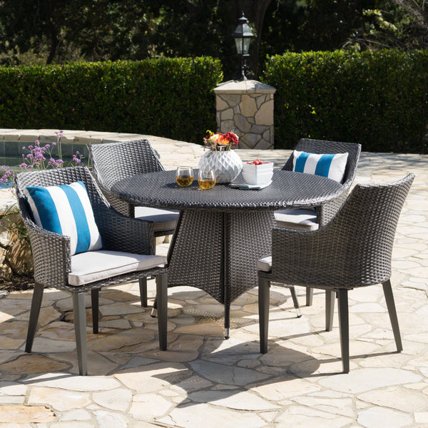Outdoor 5 Piece Wicker Round Dining Set with Water Resistant Cushions - NH164203