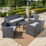 Outdoor 5 Piece Faux Wicker Rattan Chat Set with Sofa and Water Resistant Cushions - NH716203