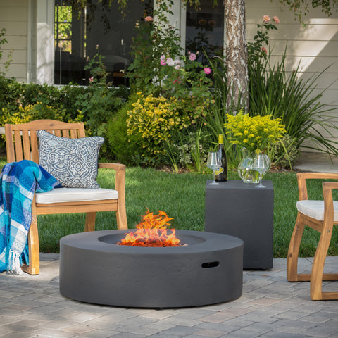Circular 50K BTU Outdoor Gas Fire Pit Table with Tank Holder - NH704992
