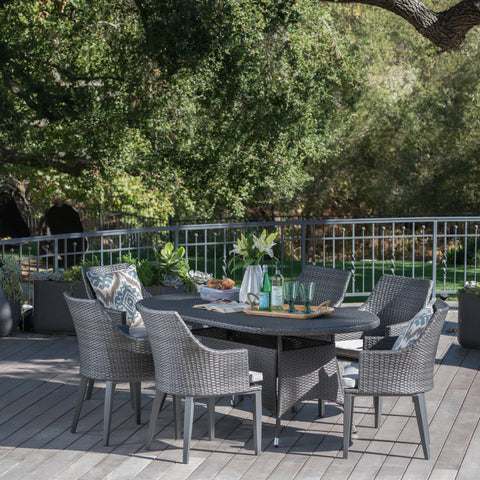 Outdoor 7 Piece Wicker Oval Dining Set - NH464203