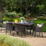 Outdoor 7-Piece Multi-brown Wicker Dining Set - NH255003