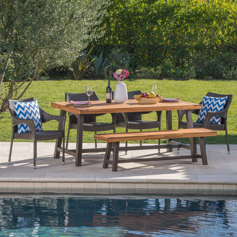 Outdoor 6 Piece Rustic Metal and Sandblast Finished Wood Dining Set - NH835103