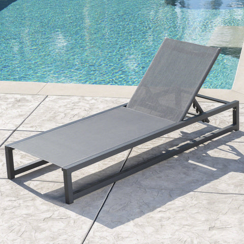 Outdoor Finished Aluminum Framed Chaise Lounge with Mesh Body - NH128203
