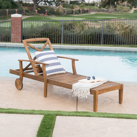 Outdoor Teak Finished Acacia Wood Chaise Lounge - NH095303