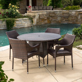 Outdoor 5-Piece Multi-Brown Wicker Round Dining Set with Umbrella Hole - NH018592