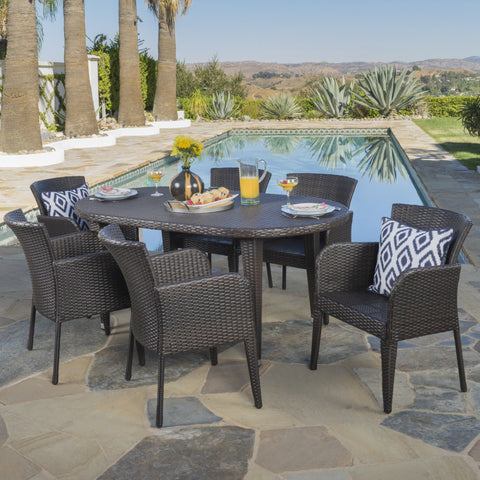 Outdoor 7 Piece Multi-brown Wicker Oval Dining Set - NH546203