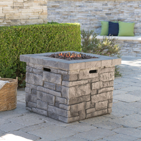 Outdoor Square Gray Lightweight Concrete Fire Pit with Stone Finish - NH222303