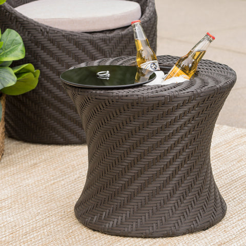 Clarice Outdoor Brown Wicker Accent Table with Ice Bucket - NH723003