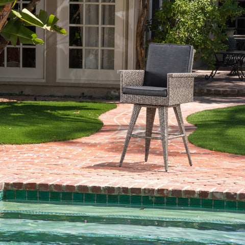 30-Inch Outdoor Wicker Barstool with Water Resistant Cushions - NH833003