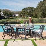 Outdoor 7 Piece Aluminum Dining Set with Concrete Table - NH797303