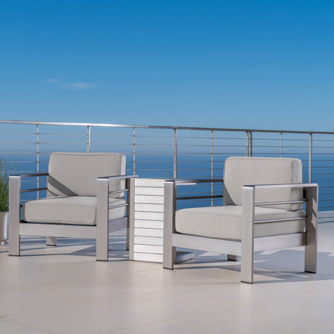 Outdoor Aluminum Club Chairs and Side Table Set with Cushions - NH463403