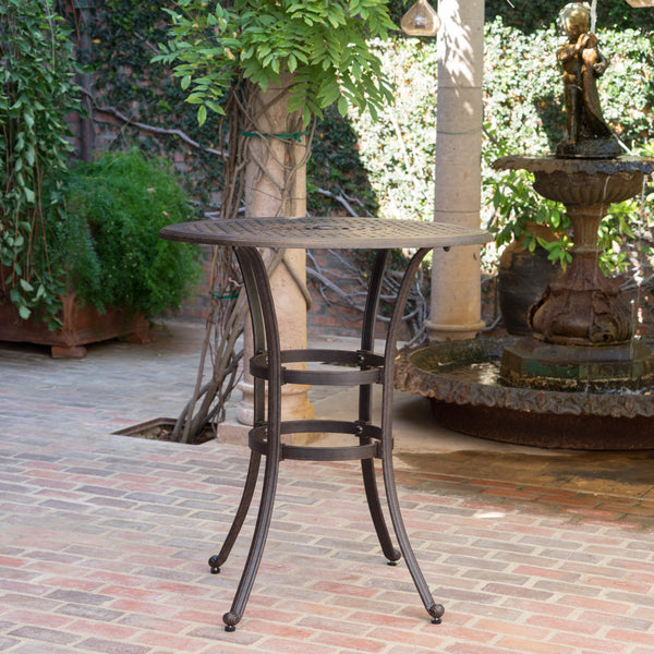 Outdoor 37 Inch Bronze Cast Aluminum Round Bar Table - NH242203