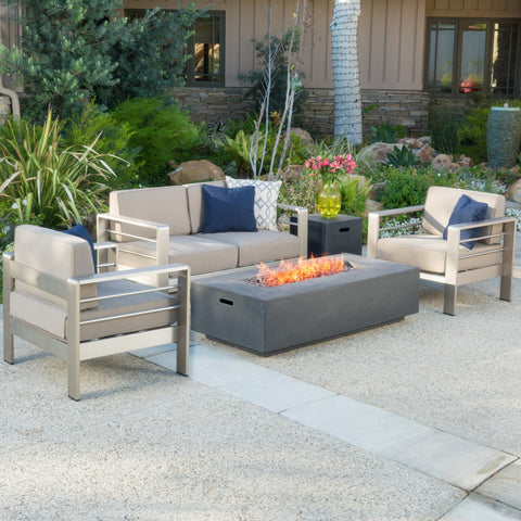 5pc Outdoor Fire Table Sofa Set - NH878992