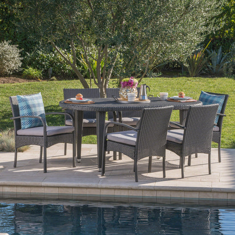 Outdoor 7 Piece Gray Wicker Dining Set with Gray Water Resistant Cushions - NH836203