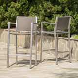 30-Inch Outdoor Grey Wicker Barstools (Set of 2) - NH553003