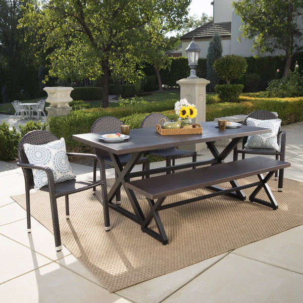 Outdoor 6 Piece Brown Aluminum Dining Set with Multi-brown Stacking Chairs - NH407203