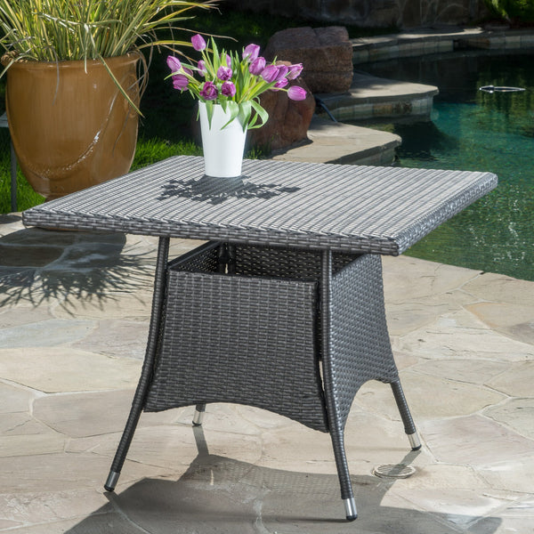Contemporary Outdoor Square Gray Wicker Dining Table - NH365003